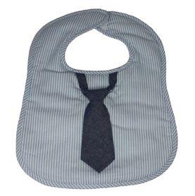 Frenchie Bib Blue Stripe With Tie Grey