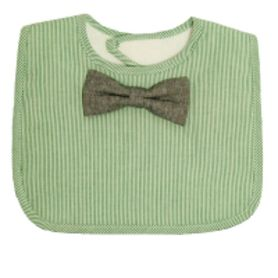 Frenchie Bib Green Check With Bowtie Grey
