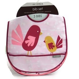 JJ Cole Bib 3Pack Pink Chicadee