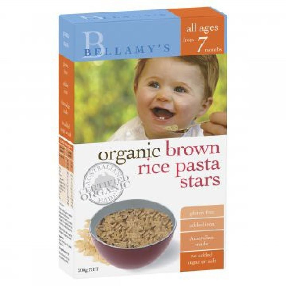 Bellamys Organic Brown Rice Pasta Stars 200G