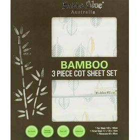 Bubba Blue Bamboo Leaf Cot Sheet Set 3 Piece