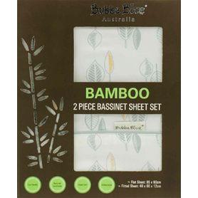 Bubba Blue Bamboo Leaf Bassinet Sheet Set 2 Piece
