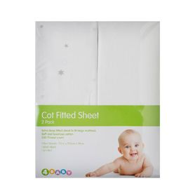 4Baby Twinkle Cot Fitted Sheet Grey 2 Pack