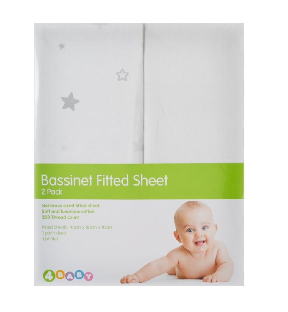 4Baby Twinkle Bassinet Fitted Sheet Grey 2 Pack