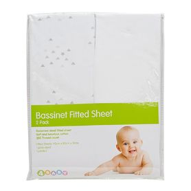 4Baby Bassinet Clouds Fitted Sheet 2Pk Silver