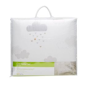 4Baby Cot Comforter Set Clouds 3 Piece Silver