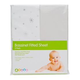 4Baby Bassinet Fitted Sheet Star Bright Silver 2 Pack