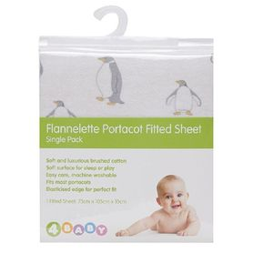 4Baby Flannel Porta Cot Fitted Sheet Penguin Parade