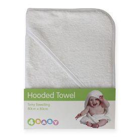 4Baby Hooded Towel Plain White