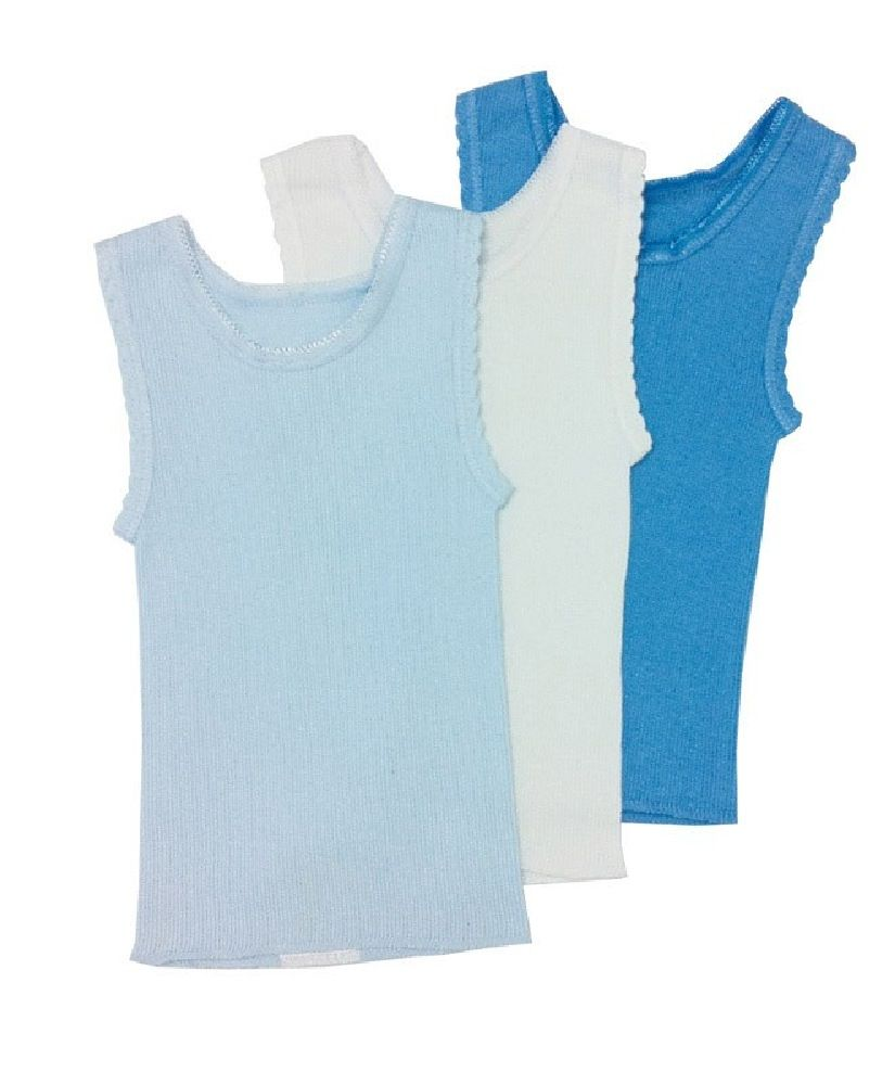 4Baby Cotton Singlet Blue 3 Pack image 0