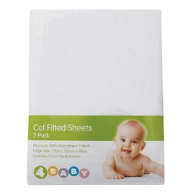 4Baby Cot Fitted Sheets White 2 Pack