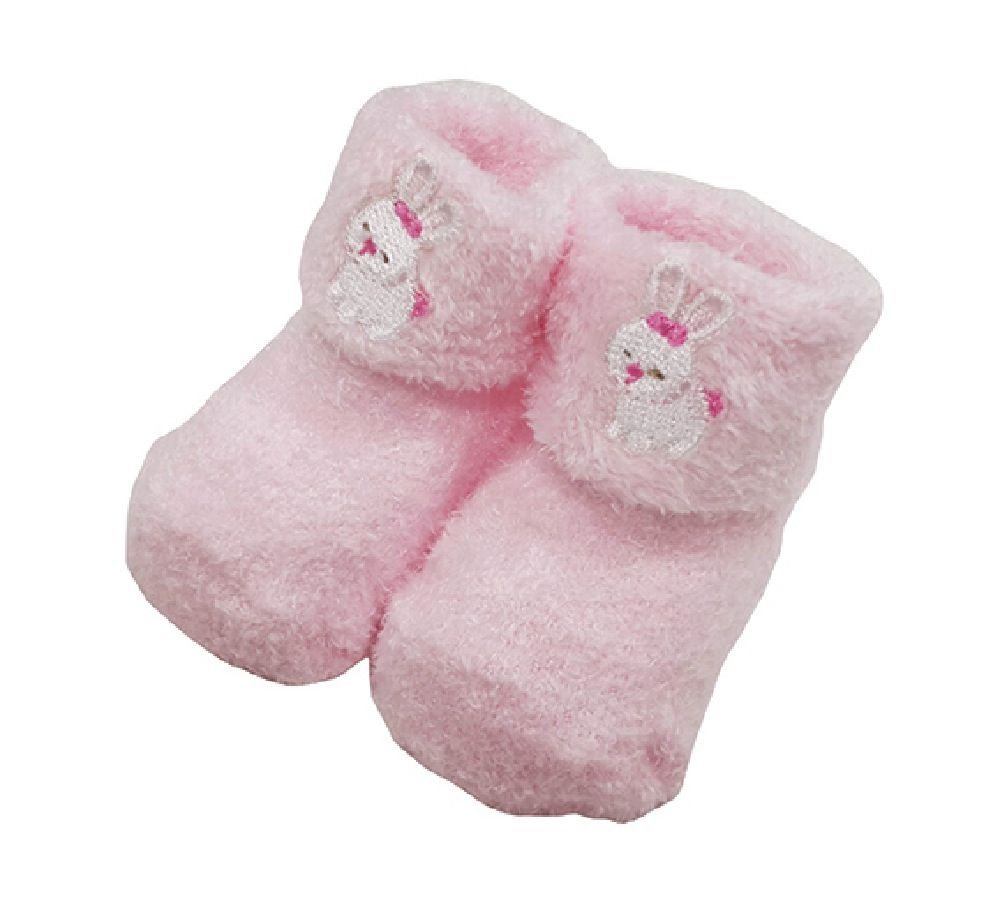 Playette Chenille Bootie Girls Pink 0-3M 2 Pack image 0