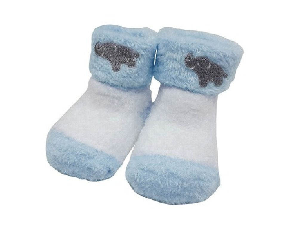 Playette Chenille Bootie Boys Blue 0-3M 2 Pack image 1