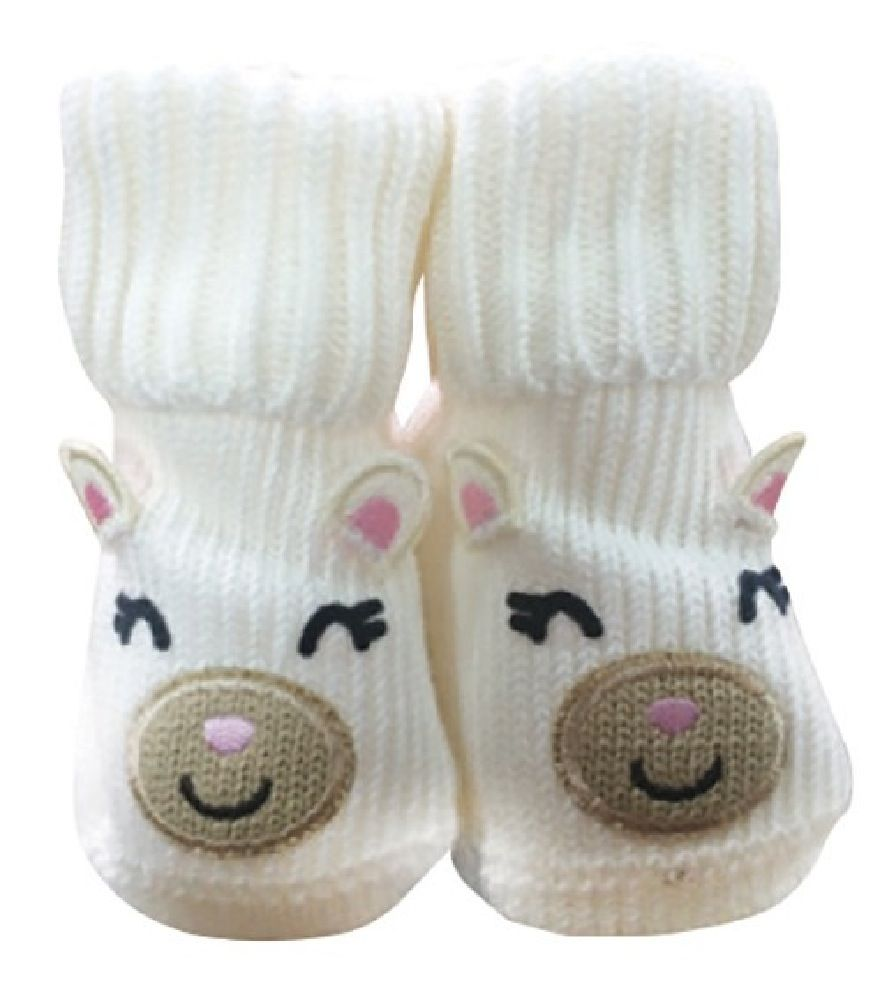 Playette Novelty Bootie Socks Bear White 0-6M image 0