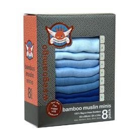 Weegoamigo Bamboo Mini Muslin 8 Pack Blue