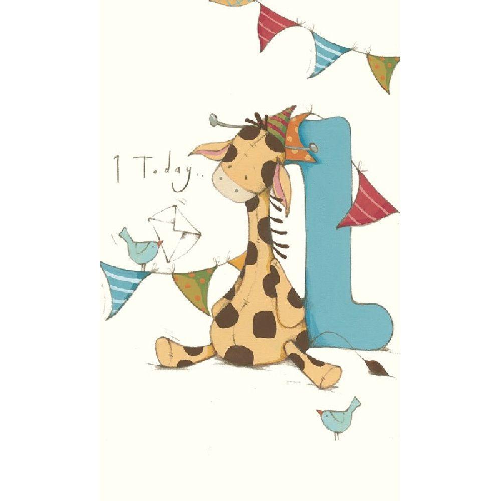 Henderson Greetings Card Age 1 Boy Giraffe & Number