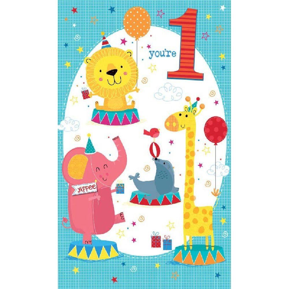 Henderson Greetings Card Age 1 Boy Circus Animals
