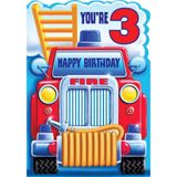 Henderson Greetings Card Age 3 Boy Fire Engine image 0