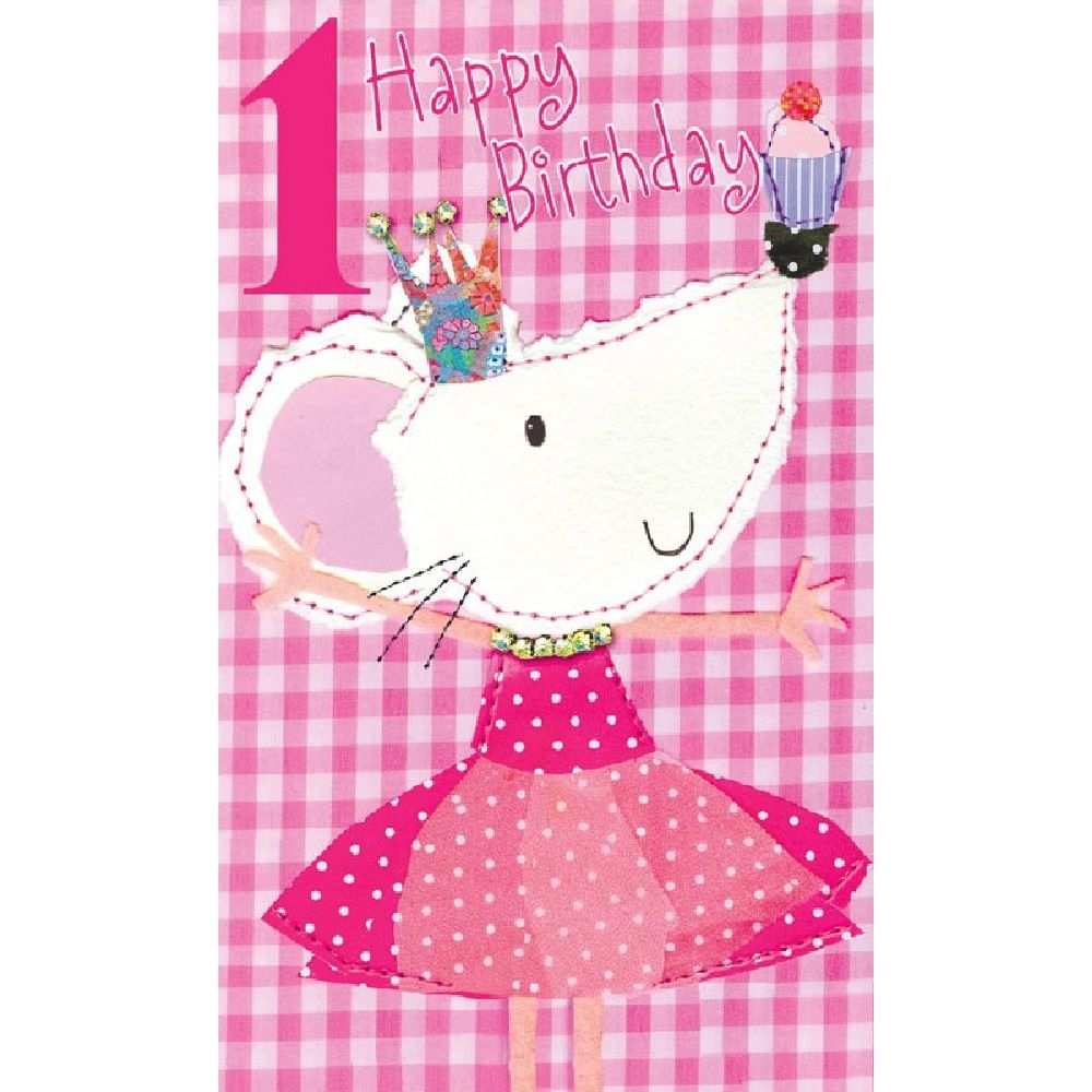 Henderson Greetings Card Age 1 Girl Mouse With Cake
