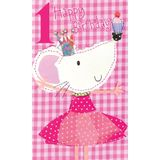 Henderson Greetings Card Age 1 Girl Mouse With Cake image 0