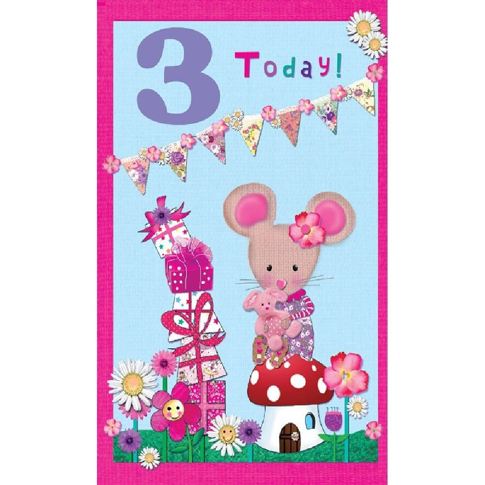 Henderson Greetings Card Age 3 Girl Bunting Mouse Presents