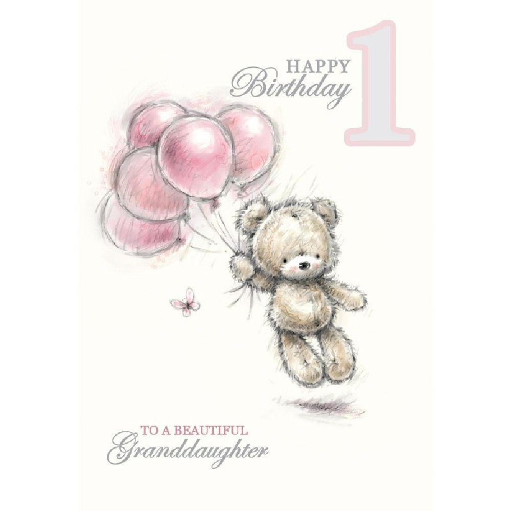 Henderson Greetings Card Granddaughter 1st Birthday Teddy & Balloons image 0