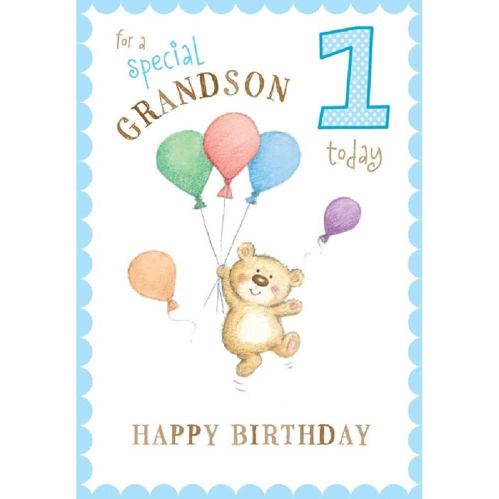 Henderson Greetings Card Grandson 1st Birthday Bear & Balloons