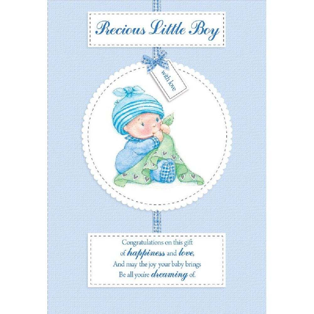 Henderson Greetings Card Baby Boy Baby Boy With Blanket image 0