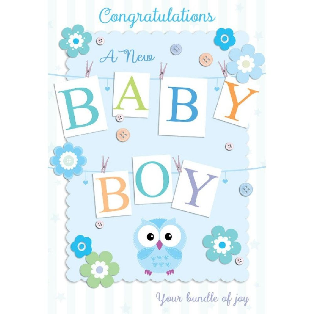 Henderson Greetings Card Baby Boy Letters Pegged On Line image 0