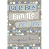 Henderson Greetings Card Baby Boy Blue And White Stars image 0