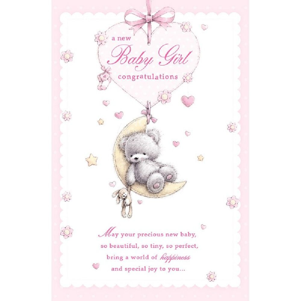 Henderson Greetings Card Baby Girl In Touch Teddy Sitting In Moon