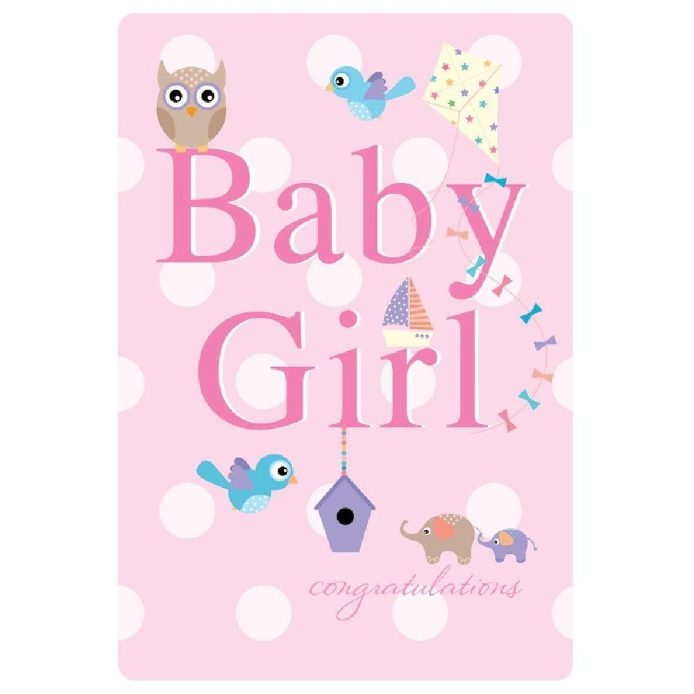 Henderson Greetings Card Baby Girl Owl Birds Elephants