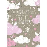 Henderson Greetings Card Baby Girl Clouds Birds Stars & Hearts image 0
