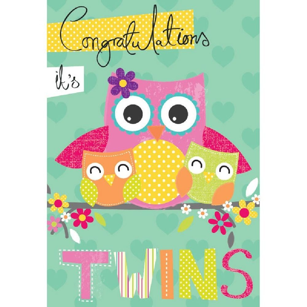 Henderson Greetings Card Baby Twins Mum Owl With Baby Twin Owls