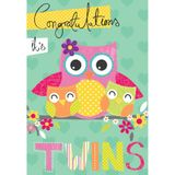 Henderson Greetings Card Baby Twins Mum Owl With Baby Twin Owls image 0