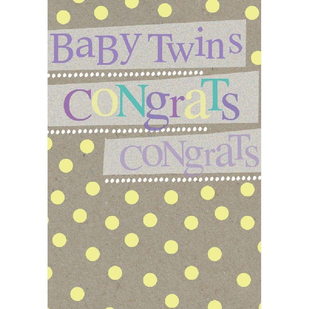 Henderson Greetings Card Baby Twins Typogrpahic Twins image 0