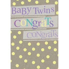 Henderson Greetings Card Baby Twins Typogrpahic Twins