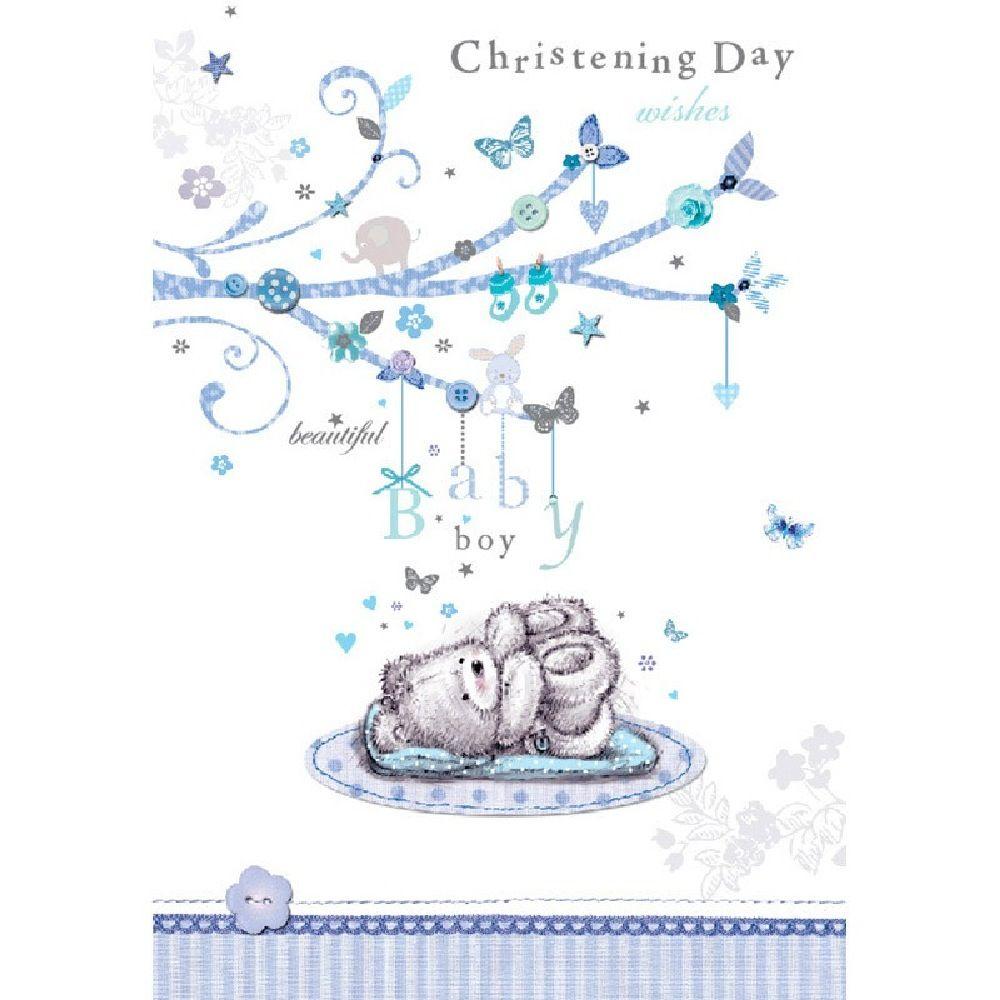 Henderson Greetings Card Baby Boy Christening Teddy Lying Down