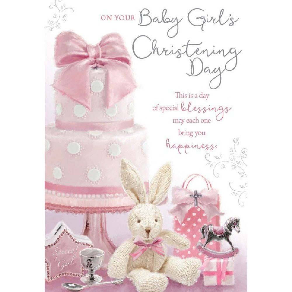 Henderson Greetings Card Baby Girl Christening Toys Under Cake image 0