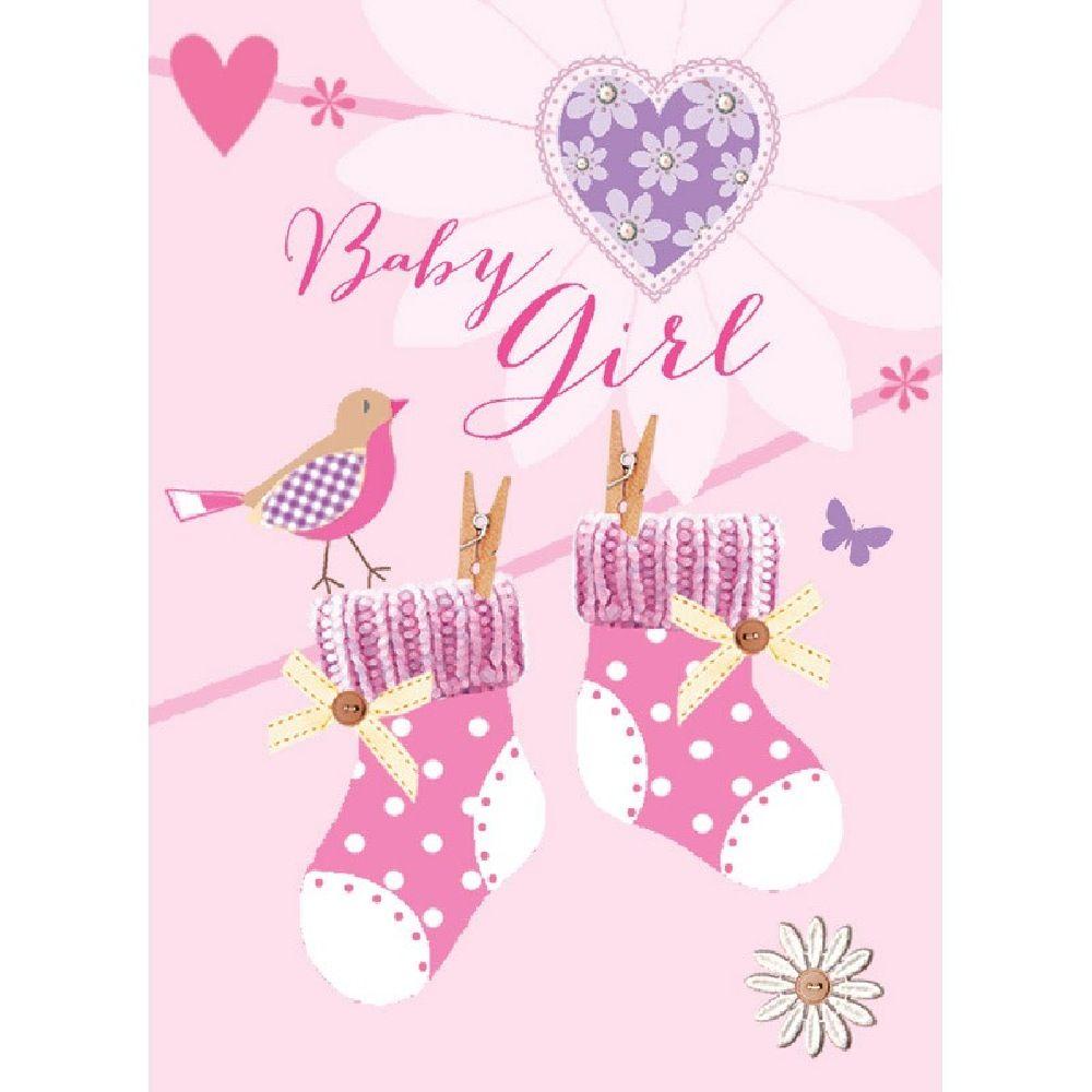 Henderson Greetings Gift Card Baby Girl Pink Booties