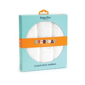 Bubba Blue Essentials Face Washer White 6 Pack