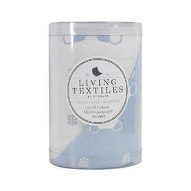 Living Textiles Muslin Jacquard Blanket Bear Blue