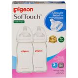 Pigeon Wide Neck PP Bottle with SofTouch Peristaltic Plus Teat - 240ml - 2 Pack image 0