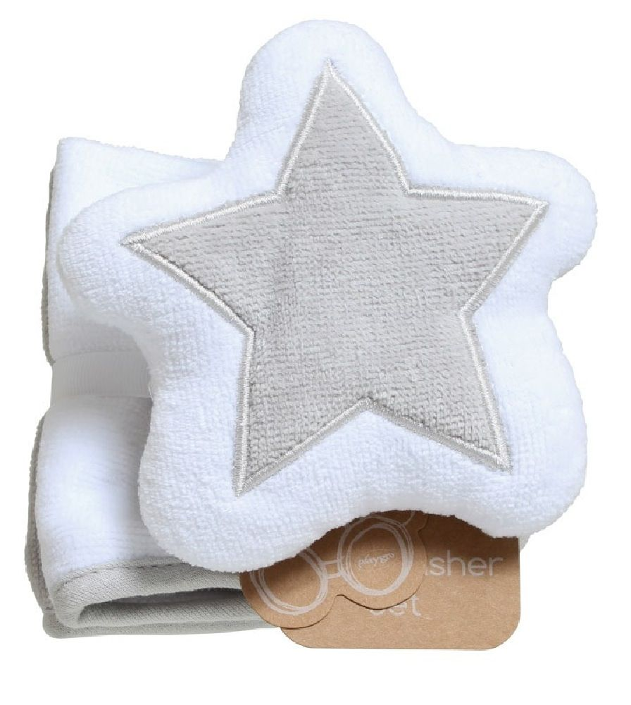 Playgro Star Mit & Wash Cloths Grey/White
