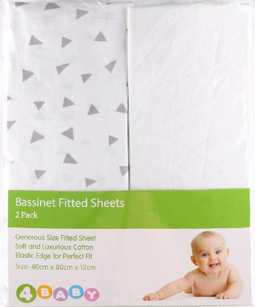 4Baby Bassinet Fitted Sheet Triangles 2 Pack image 1