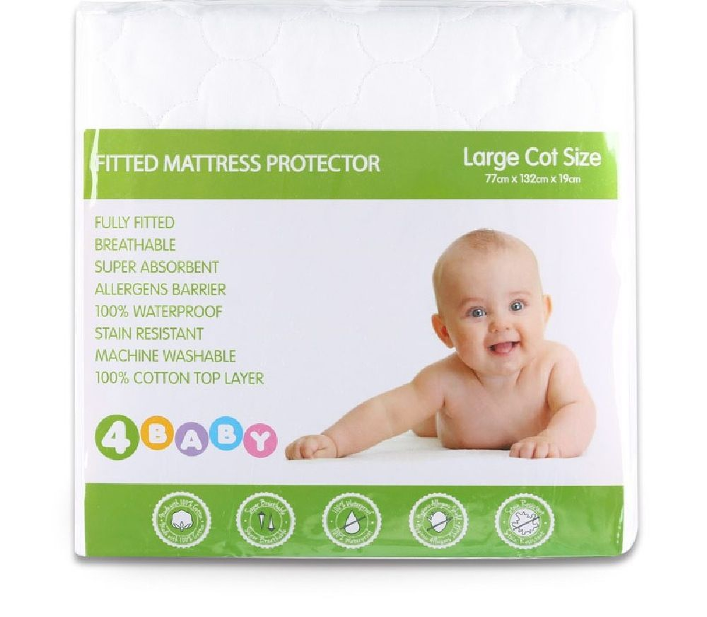 4Baby Quilted Mattress Protector Cot Large image 1