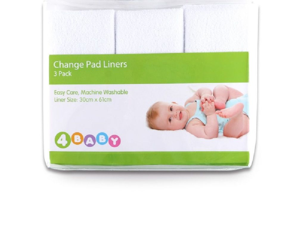 4Baby Change Pad Liner White 3 Pack