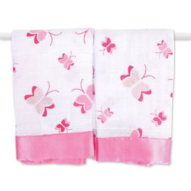 Aden & Anais Security Blankets Princess Posie White/Pink 2 Pack