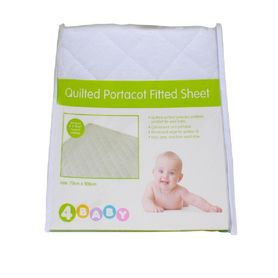 4Baby Quilted Portacot Sheet White