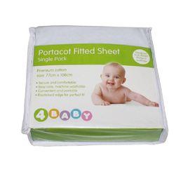 4Baby Portacot Sheet Plain White